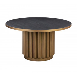 Black Top Brass Cylinder Base Dining Table