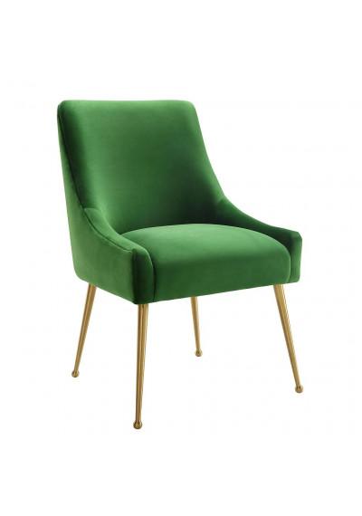 Green Velvet Accent Dining Chair Gold Back Handle & Legs
