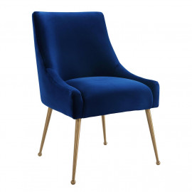 Blue Velvet Accent Dining Chair Gold Back Handle & Legs
