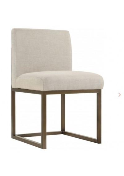 Beige Linen Dark Brass Squared Base Dining Accent Chair