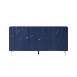 Glam Blue Lacquer Acrylic Leg Buffet Sideboard