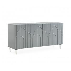 Glam Grey Lacquer Acrylic Leg Buffet Sideboard