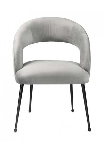 Light Grey Velvet Mid Century Glam Accent Dining Chair