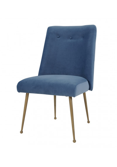 Blue Velvet Mid Century Simple Accent Dining Chair