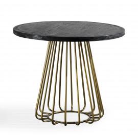 Dark Wood Round Dining Table Brass Tubular Base