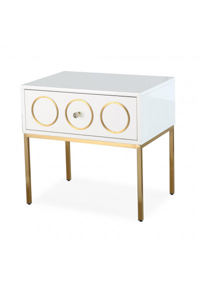 Glam White Lacquer Gold Details Side Table Nightstand
