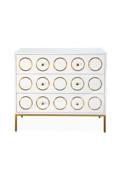Glam White Lacquer Gold Details Chest