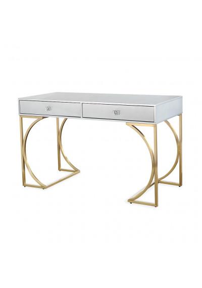 Glam Matt Grey Lacquer Gold Base Desk