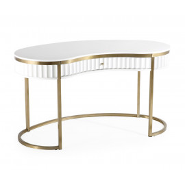 Glam Scalloped White Lacquer Gold Base Curve Desk
