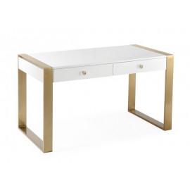 White Lacquer Gold Square Base Desk