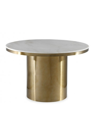 White Marble Top Brushed Gold Cylinder Base Dining Table