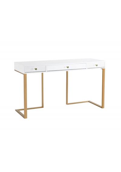 White Lacquer Gold Base Swirl Drawer Desk