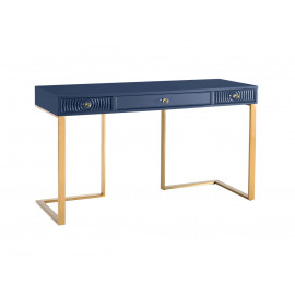 Blue Lacquer Gold Base Swirl Drawer Desk