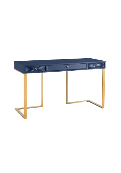 Blue Lacquer Gold Base Swirl Drawer Desk
