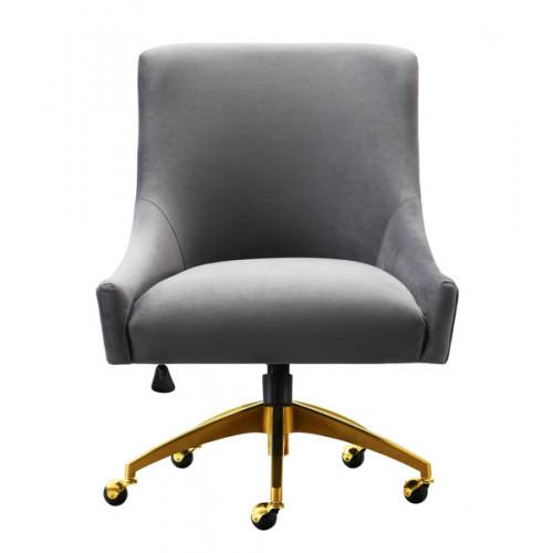 Grey Velvet Swivel Office Desk Chair Gold Base Wheels