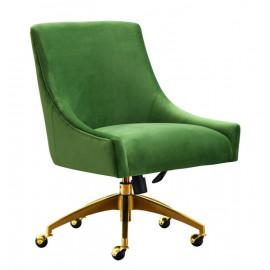 Green Velvet Swivel Office Desk Chair Gold Base Wheels