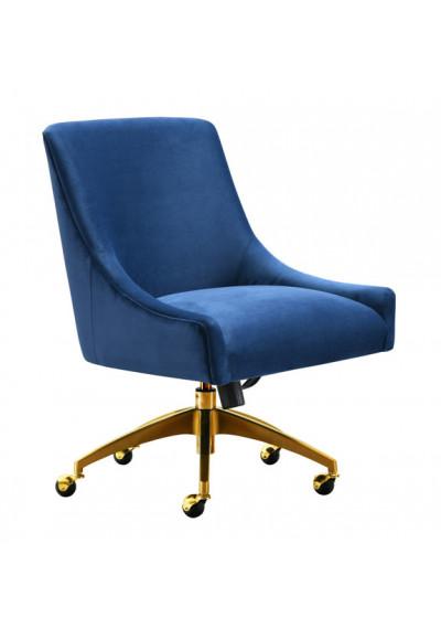 Blue Velvet Swivel Office Desk Chair Gold Base Wheels
