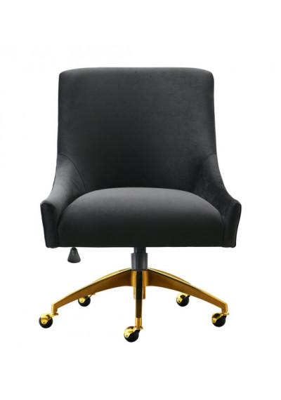 Black Velvet Swivel Office Desk Chair Gold Base Wheels