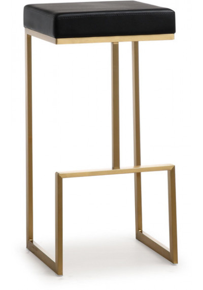 Gold Metal Black Faux Leather Backless Bar Stool