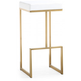 Gold Metal White Faux Leather Backless Bar Stool