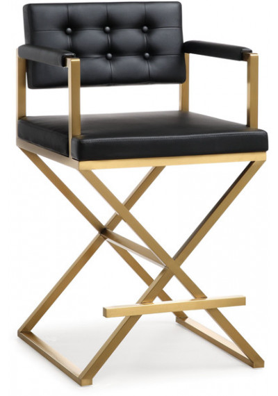 Gold Metal Black Faux Leather Directors Counter or Bar Stool