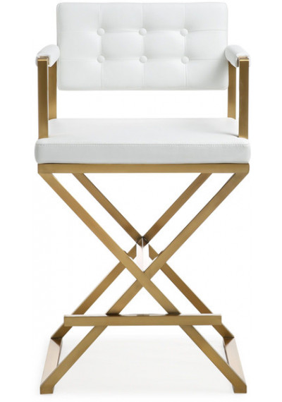 Gold Metal White Faux Leather Directors Counter or Bar Stool