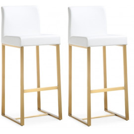 Gold Metal White Faux Leather Bar or Counter Stool Set 2