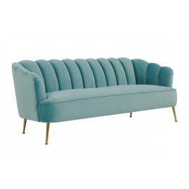 Sea Blue Velvet Petal Channel Tufted Sofa