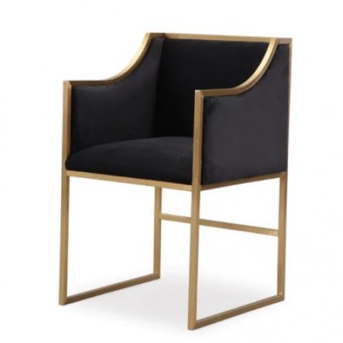 Black Velvet Gold Frame Elegant Multipurpose Chair