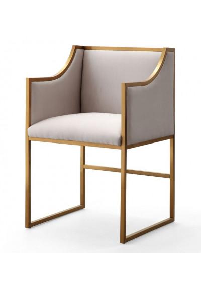 Cream Velvet Gold Frame Elegant Multipurpose Chair