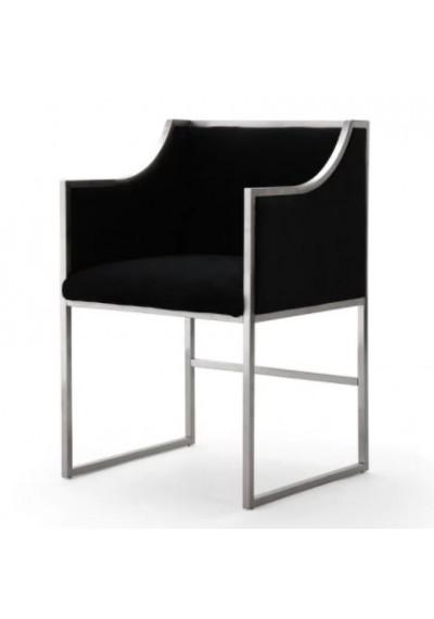 Black Velvet Silver Frame Elegant Multipurpose Chair