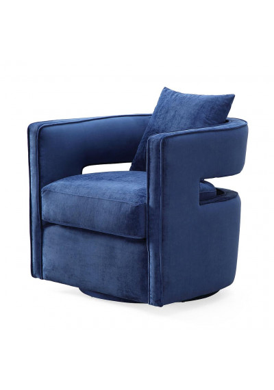 Stylish Blue Velvet Swivel Chair