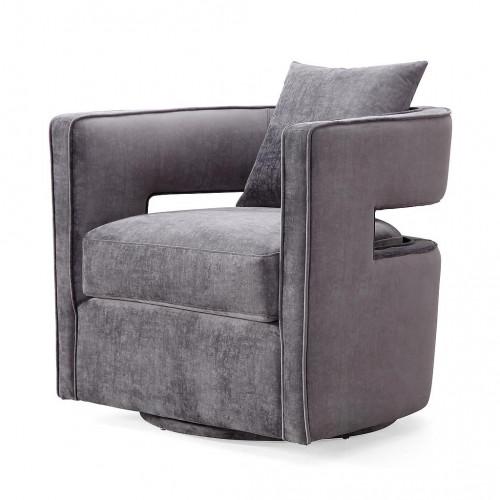 Stylish Grey Velvet Swivel Chair