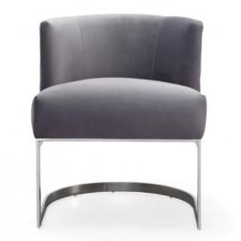 Dark Grey Velvet Salon Accent Chair