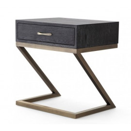 Black Finish Wood Brushed Gold Z Base Side Table