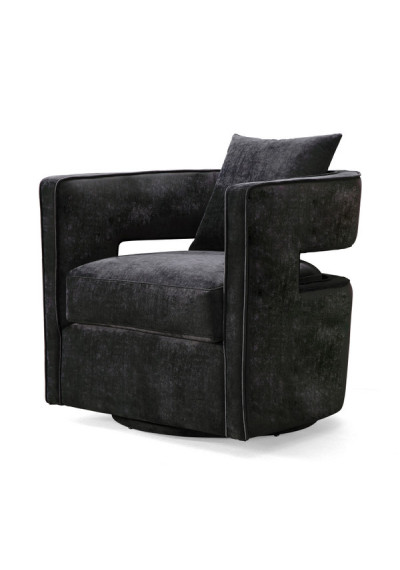 Stylish Black Velvet Swivel Chair