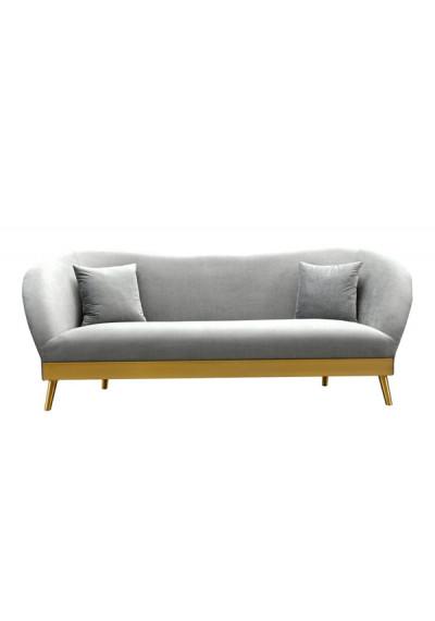 Grey Velvet Sofa Brushed Gold Base & Legs