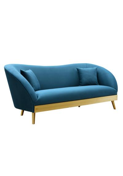 Blue Velvet Sofa Brushed Gold Base & Legs