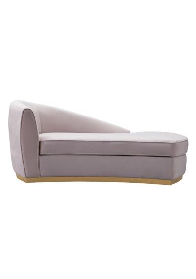 Blush Pink Velvet Streamline Chaise Gold Base