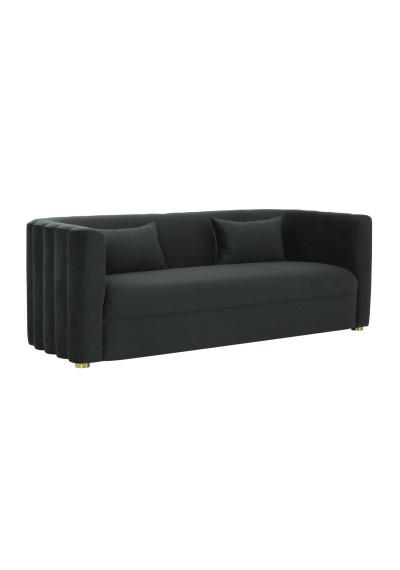 Black Velvet Rounded Scalloped Tufted Back Glam Sofa
