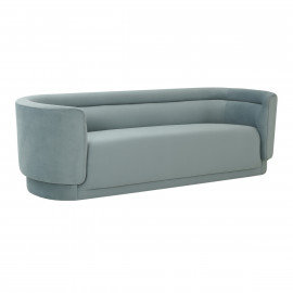 Pale Sea Blue Velvet Curved Horizontal Channel Tufted Sofa