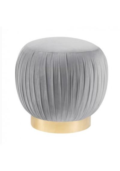 Pouf Top Light Grey Velvet Ottoman Footstool Gold Base