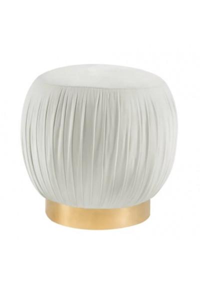 Pouf Top Cream Velvet Ottoman Footstool Gold Base