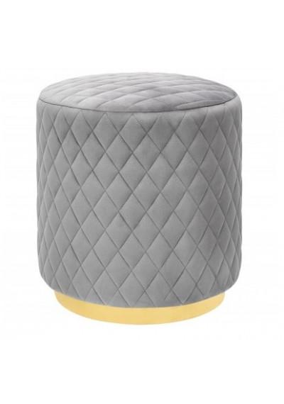 Grey Velvet Round Velvet Ottoman Footstool Cris Cross Pattern