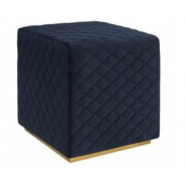 Navy Blue Velvet Square Ottoman Footstool Cris Cross Pattern