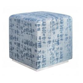 Blue Textured Velvet Square Ottoman Footstool Cris Cross Pattern