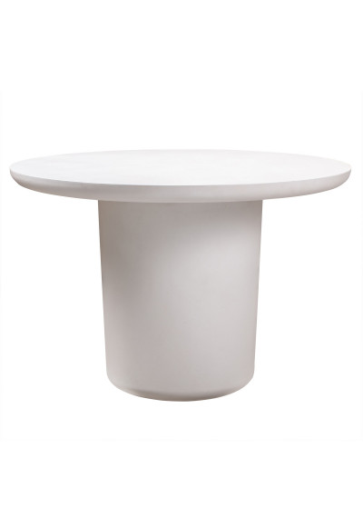 Ivory Round Concrete Cylinder Indoor Outdoor Dining Table