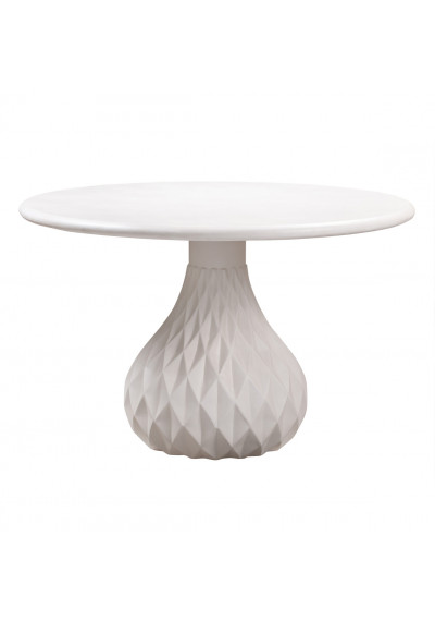 Ivory Round Concrete Indoor Outdoor Dining Table