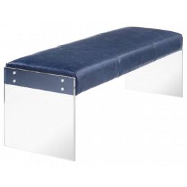 Blue Eco Leather Flat Acrylic Leg Bench