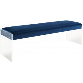 Blue Velvet Bench Flat Acrylic Legs